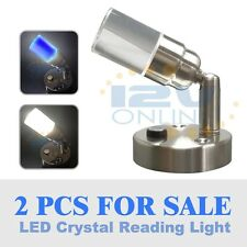 2*LED 12V CRYSTAL SWIVEL WALL READING LIGHT RV TRAILER CARGO INDOOR BEDSIDE LAMP