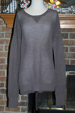 NWT BCBG Max Azria Open Knit Loose Oversize Fit Wool Sweater Olive Brown SZ L