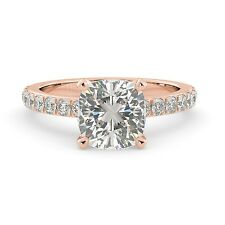 2.30 tcw Cushion Solitaire Round Cut Pave Engagement Ring Solid 14k Rose Gold