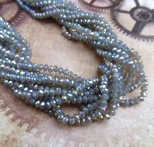 Strand of 150 Beads Faceted Mini Rondelle Beads Sparkly Glass Beads Grey Lustre