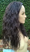 very dark brown wavy curly frizzy puffy 3/4 half head long hair wig fancy dress
