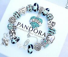 Authentic Pandora Silver Bracelet with Blue Heart Love European Charms