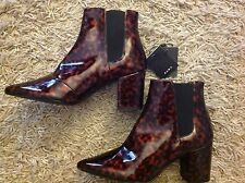 ZARA ref.2106/001 Shiny Leopard Print Heel Booties Boots Shoes 40 UK 7 BNWT