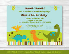Baby Dinosaurs Printable Birthday Invitation Editable PDF