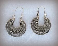 Artistic antique vintage design silver hoop earrings / bollywood fashion jewelry