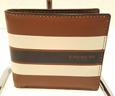 NWT! Coach Varsity Leather Dark Saddle Men's Coin Wallet F75394