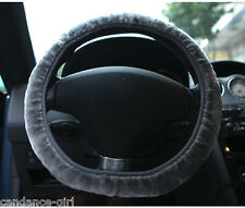 Universal Gray Soft Steering Wheel Cover Wool Plush Fuzzy Auto Car Winter Warm