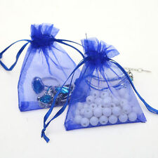 25Pcs Organza Wedding Party Favor Gift Candy Bag Packing 7X9cm(Sapphire)
