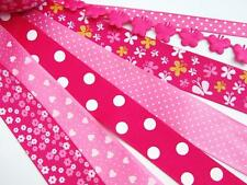 14 yards Fuchsia Grosgrain Satin Ribbon Scrapbooking Scrap Mix/Craft R-Hot Pink
