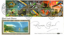 5 FEB 1991 GREETINGS BENHAM FDC SIGNED BY RUSSELL GRANT RAINBOW SHS