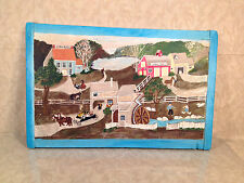 Y Kelly Folk Art on Breadboard Painting of Amish Scene of Mill Shop and Home