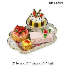 Assorted Specialty Cakes on Tray Reutter Porcelain DOLLHOUSE MINIATURES 1:12