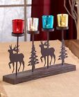 Northwoods Deer Evergreen Tealight Holder Cabin Lodge Woodland Votive Holder