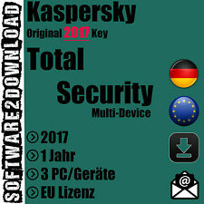 Kaspersky Total Security Multi Device 2017 3 PC MAC Android / Geräte 1 Jahr - EU