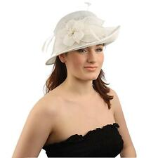 1920s Derby Sinamay Flip Side Floral Feathers Cloche Bucket Church Hat Cap White