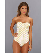 SHOSHANNA PALM DESERT TRIANGLES BEADED ONE PIECE SWIMSUIT GOLD SIZE 12 NEW! $198