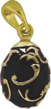 Faberge Egg Pendant / Charm with crystal 1.5 cm black #1224-13