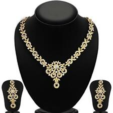 Sukkhi Stunning Gold Plated AD Necklace Sets for Women(2167NADL1400)