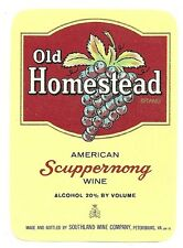 Vintage Old Homestead Scuppernong Wine Label Southland Wine Co. Petersburg, Va.