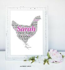 PERSONALISED HEN PARTY WORDART LADIES WEDDING GIFT KEEPSAKE A4 HEN PARTY NIGHT