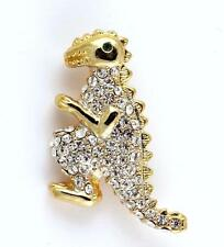 NEW RUCINNI GREEN CLEAR SWAROVSKI CRYSTALS DINOSAUR PIN BROOCH IN GOLD TONE