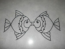2 Vtg Fish Wall Art Mid-century plastic wire frederick weinberg ? art  help ID?
