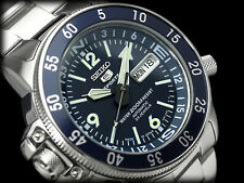 NEW MEN'S 200M SEIKO 5 SPORTS 23 JEWEL AUTOMATIC BLUE DIAL COMPASS RING SKZ209J1