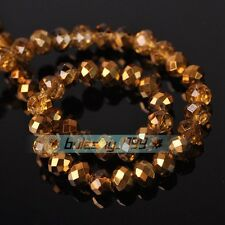 Half Plated Rondelle Faceted Crystal Glass Loose Spacer Beads 4mm 6mm 8mm 10mm