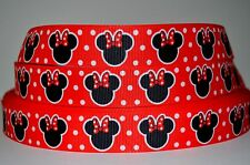 """1 yd 7/8"""" Grosgrain Ribbon MINNIE MOUSE WITH BOW PRINTED ON RED, WHITE POLKA DOT"""