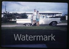 1962 Kodachrome photo slide  Family outside standing by car automobile Galaxie