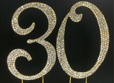 Gold  Rhinestone  NUMBER (30) Cake Topper 30th Birthday Party free shipping