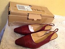 SYBIL SLING BACK PUMPS BY COMFORTVIEW WOMENS 8M BURGUNDY SHOES NEW IN BOX