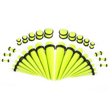 Ear Stretching Kit Glow Tapers with Plugs 36 Pieces 14G-00G UV Glow in the dark