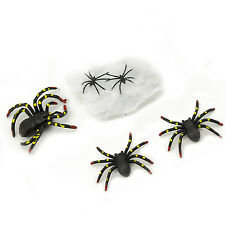 Black Spiders Expanding Stretchable Web Halloween Haunted House Decoration Toy