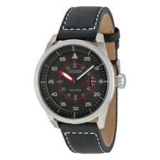 Citizen Avion Black Dial Black Leather Mens Watch AW1361-01E