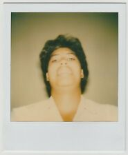 Vintage 80s Polaroid PHOTO Young Black Woman Close Up View Of Head Face