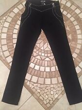 BLACK STUDDED SKINNY PANTS WITH SEE THRU SIDES