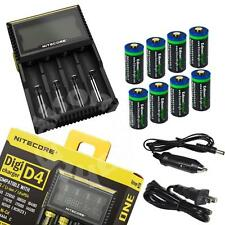 NITECORE D4 charger & 8 X Li-ion RCR123A/16340 rechargeable batteries for arlo