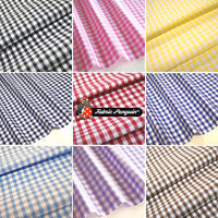 "GINGHAM FABRIC Polycotton 1/4"" Check 44"" 112cm - PREMIUM QUALITY - Blue Red Pink"