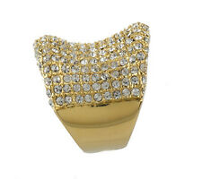 Melania Trump Bold Pave' Crystal Concave Band Ring Size 7 QVC Goldtone