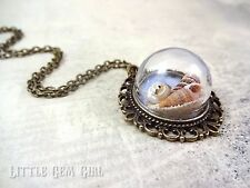 Beach Theme Glass Pendant with real Sand and Sea Shells ornate bronze Necklace