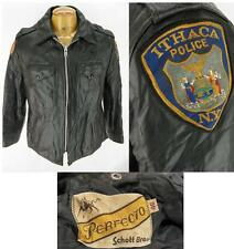 Vntg Schott Perfecto Ithaca New York Police Leather Motorcycle Jacket Large 46