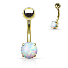 """1 Pc 14K Gold Plated White Opal Prong Set Navel / Belly Ring 14g 3/8"""""""