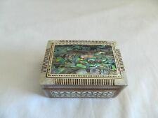 "Egyptian Inlaid Mother of Pearl Paua Shell Jewelry Box Handmade 3.5"" # 405"