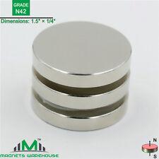 """3-count neodymium N42 Disc rare earth NdFeB magnets 1.5 x 1/4"""" (true N42)"""