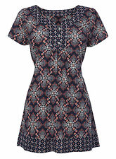 BHS LONGLINE COTTON TUNIC TOP TILE PRINT NAVY,CREAM,MINT BNWT SIZES 8-22