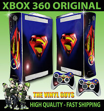 XBOX 360 SUPERMAN LENS FLARE DC HERO CONSOLE STICKER SKIN NEW & 2 PAD SKINS