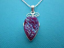 925 Sterling Silver Pendant With Natural Purple Titanium Druzy  (nk1510)