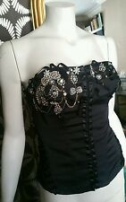 Vintage Black Karen Millen Diamante Beaded Corset Bustier Strapless Top 12