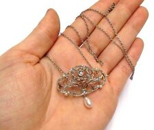 Antique Victorian Belle Epoque 1.20CT  Diamond Pearl Lavaliere Pendant Necklace
